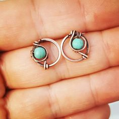 Funky stud earrings wire wrapped jewelry turquoise studs