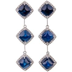 Fine Ceylon Sugarloaf Cut Sapphire and Diamond Dangle Earrings at... ❤ liked on Polyvore