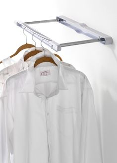 Howards Storage World | Hang N' Hide - Laundry Holder. $35.95 The Hang N' Hide folds flat making it a great space saver to use in the laundry to get clothes dry or in the wardrobe for additional space. With a series of grooves on the extendable arm there is room for up to 17 coathangers. Easy and effective to use just swing out the metal arms, pull forwards the front hanging bar and you are ready to hang.