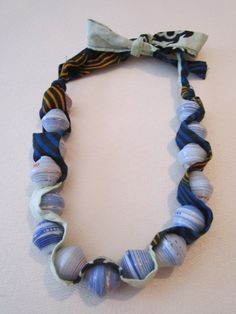 Handmade paperbead and African fabric necklace by LOT2545 on Etsy, $15.00