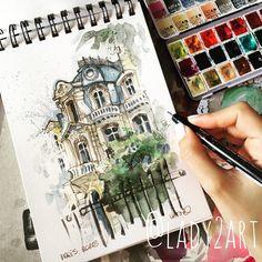 Illustrator from poland art teacher founder of ✖ Marker Kunst, Marker Art, Travel Sketchbook, Art Sketchbook, Art Sketches, Art Drawings, Illustrator, Sketchbook Inspiration, Urban Sketching