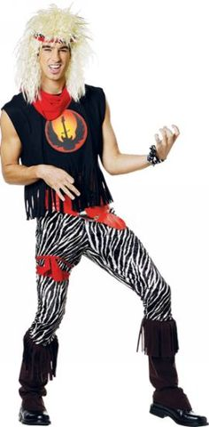 Rock God Costume - Rock God Adult Costume includes black shirt with screen print and fringe trim detailing, stretch velvet zebra printed pants, fringe boot Rock Costume, 1980s Costume, Costume Shop, 80's Costumes For Guys, Adult Costumes, Halloween Costumes, Men's Costumes, Halloween City, Halloween Ideas