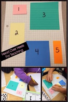 """Post-Its fit PERFECTLY on graph paper making it a great manipulative for students! I placed 5 different size sticky notes and numbered them on the graph paper. They had to calculate the area on their own paper. If you look at the picture on the bottom left you see a student using the """"array"""" method to calculate the area. The student on the bottom right lifted the sticky note to count the boxes. When I observed this, we discussed different strategies for determining the area."""