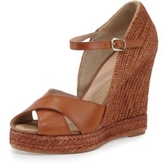 Andre Assous Giulia Leather Espadrille Wedge Sandal ($310) ❤ liked on Polyvore featuring shoes, sandals, cuero, open toe wedge sandals, espadrille wedge sandals, braided leather sandals, ankle strap platform sandals and woven wedge sandals