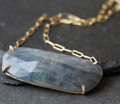 Alexis Russell //\\ Natural Rose Cut Blue Sapphire Necklace- yellow gold