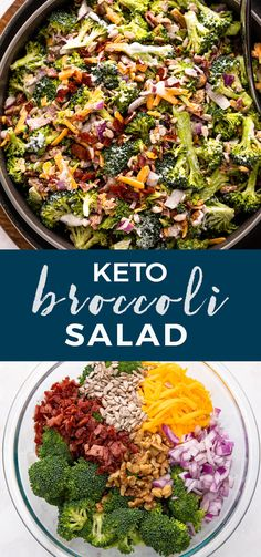 For the perfect refreshing side salad that you can eat with your favorite meat or by itself, try this Keto Broccoli Salad. It's refreshing, healthy, and safe to eat when trying to monitor your carb intake. Best Salad Recipes, Lunch Recipes, Keto Recipes, Dinner Recipes, Healthy Recipes, Weekly Recipes, Fruit Recipes, Clean Recipes, Easy Salads