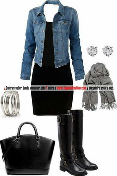 ♡ Dress with knee high black boots, denim jacket and scarf!