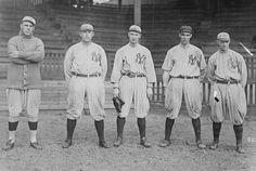 NEW YORK OUTFIELD: Yankees outfield - Don Brown, Tim Hendryx, Gene Leyden, Elmer Miller, Hugh High, New York AL, 1915
