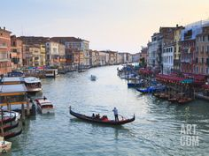 A Gondola Crossing the Grand Canal, Venice, UNESCO World Heritage Site, Veneto, Italy, Europe Photographic Print by Amanda Hall at Art.com