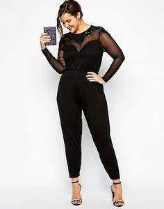 Things to remember on wearing plus size jumpsuits Plus Size Jumpsuits asos curve exclusive plus size jumpsuit with jet bead embellishment PZHGWSZ Plus Size Fashion Blog, Curvy Fashion, Girl Fashion, Fashion Outfits, Womens Fashion, Emo Fashion, Fashion Styles, Fashion Online, Plus Zise
