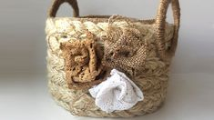 DIY wicker basket with jute rope | Jute rope basket
