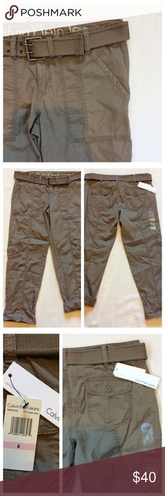 """Calvin Klein Cargo Pants NWT classic cargo pants with all over pockets and fabric belt, included. Taupe grey color. 27"""" inseam can be rolled to convert to ankle pants. Size 6, 16"""" waist. Excellent unworn condition. Calvin Klein Jeans Pants"""