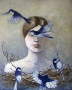 "Nguyen Anne; Painting, ""Birds"" #art"