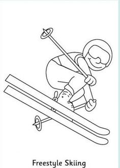 Freestyle Skiing Colouring Page: Winter Olympics Crafts for Kids . Olympic Idea, Olympic Sports, Olympic Games, Olympic Gymnastics, Sports Coloring Pages, Colouring Pages, Winter Games, Winter Activities, Theme Sport