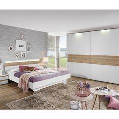 Schlafzimmer Mara   Schickes Schlafzimmer In Alpinweiss Mit Absetzung In  Hellen Sanremo Eiche Dekor. Das