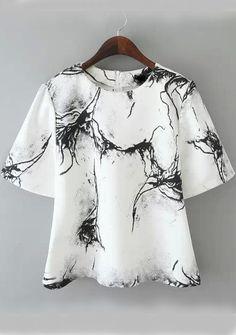 Ink Print Wide Sleeve White Shirt 15.17