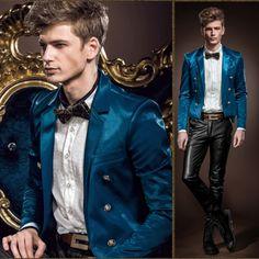Mens Blue Double Breasted Slim Fit Wedding Dress Suit Jackets Custom SKU-123604