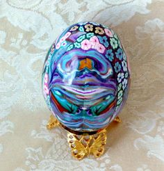 Real Duck Egg Covered in Polymer Clay  Multi Colored by jbwolen, $20.00