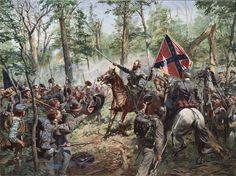 """Stonewall Jackson at Cedar Mountain, August 9, 1862 rallying his men with his sword, rusted in the scabbard. He shouted """"Jackson is with you, rally brave men, and press forward!"""" By Don Troiani"""