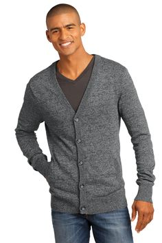 District Made - Mens Cardigan Sweater DM315 Warm Grey