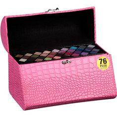 makeup kit box walmart. the color workshop triple play vanity makeup case, pink, 79 pc kit box walmart