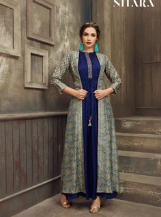 Nitara saira digital printed fancy kurti with jacket Catalog Dealer Kurti With Jacket, Gown With Jacket, Indian Tunic, Indian Ethnic Wear, Fancy Kurti, Fancy Gowns, Embroidered Jacket, Designing Women, Casual Wear