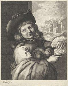 Lambert Visscher | Lachende jongen met kat, Lambert Visscher, Anonymous, 1643 - 1740 | Een lachende jongen met een kat op zijn arm. Hij staat voor een muur en draagt een hoed. Op de achtergrond een glooiend landschap met een dorp.