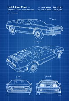 DeLorean Automobil Patent Patent Grafik Wand von PatentsAsPrints