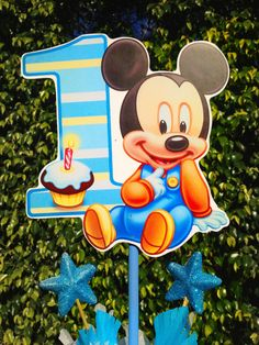 Baby mickey mouse 1st birthday cake topper Mickey mouse 1st