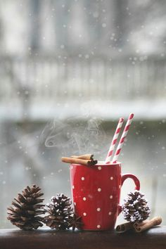 A Steaming Cup Of Cocoa Topped With Cinnamon Sticks - Is There Anything More Christmassy?!