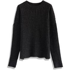 Chicwish Chunky Ribbed Sweater in Black (€40) ❤ liked on Polyvore featuring tops, sweaters, chicwish, black, layered tops, double layer top, loose fitting tops, loose fit tops and loose tops