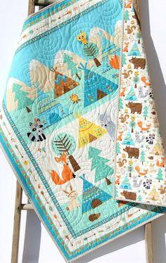 Aztec Quilt Kit FLANNEL Baby Blanket Panel Quick Easy Boy