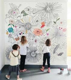 Brittany of let the kids in my drawing class color in some flowers on her giant coloring mural up at Art Mural, Mural Painting, Wall Murals, Wall Art, Paintings, Bedroom Murals, Bedroom Decor, Diy Wall, Wall Decor