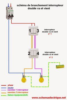 schema branchement double va et vient Home Electrical Wiring, Electrical Layout, Electrical Projects, Electrical Installation, Light Installation, Electrical Engineering, Family House Plans, Tiny House Plans, Distribution Board