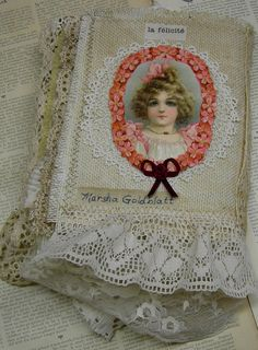 Lace Album Shabby Chic Mixed Media Collage by Vintagearts