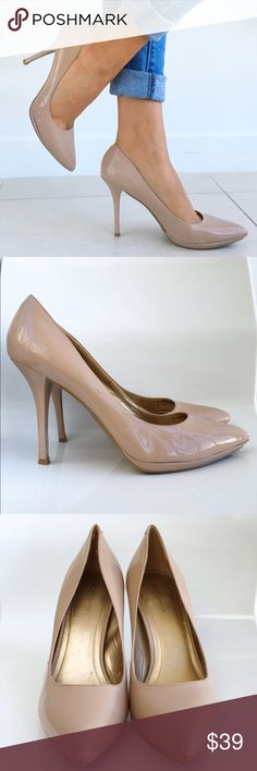 "BCBG Patent Nude Native Pumps BCBG Nude Pointed Toe Native Pumps! These heels are super comfortable and chic! Perfect for the office! We're with skinny jeans or Bodycon dress. Great condition has scuffs on the pointed toe part. Slip on style. 4"" size 9 1/2 B. Fits true to size. BCBGeneration Shoes Heels"