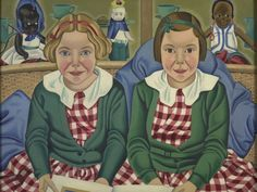 The blonde girl in this picture, Fay Birkinshaw, later became the novelist Fay Weldon. She recalled posing with her sister: 'We were put in our matching check dresses and told to sit still.' Rita Angus gave the portrait to the girls' parents, but. New Zealand Art, Nz Art, Kiwiana, Digital Museum, Collaborative Art, Artist Painting, Female Art, Girl Pictures, Drawings