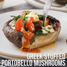 Greek Stuffed Portobello Mushrooms - A mixture of tomatoes, spinach, feta, olives and fresh oregano gives portobellos a Mediterranean vibe in this healthy stuffed mushroom recipe. Vegetable Recipes, Vegetarian Recipes, Cooking Recipes, Healthy Recipes, Healthy Mushroom Recipes, Best Mushroom Recipe, Vegetarian Barbecue, Vegetarian Dinners, Barbecue Recipes