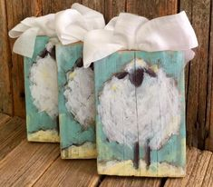 Hand painted sheep on reclaimed wood from Tuscaloosa County, AL Sweet reminder we are His Sheep! Approx 3 5 x More colors on Etsy … is part of Sheep paintings - Block Painting, Tole Painting, Painting On Wood, Diy Painting, Sheep Paintings, Animal Paintings, Easter Paintings, Christmas Paintings, Christmas Art