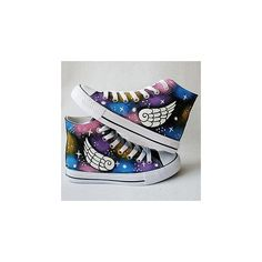 HVBAO Painted Wings Canvas Sneakers ($38) ❤ liked on Polyvore featuring shoes, sneakers, converse, footware, plimsoll shoes, black shoes, black canvas sneakers, winged sneakers and clear shoes