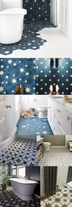 Unique Bathroom Floor Tile Designs & Ideas For 2019 Star bathroom floor tile ideas Tile Floor Diy, Bathroom Floor Tiles, Modern Bathroom, Small Bathroom, Paint Floor Tiles, Painting Bathroom Tiles, Bathroom Vinyl, Guest Bathrooms, Industrial Bathroom