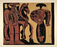 1962 Linocut Picador Matador Bullfight Horse Picasso - ORIGINAL PIC1 - Period Paper