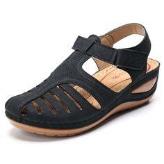 MCCKLE Woman Summer Leather Vintage Sandals Buckle Casual Sewing Women Shoes Female Ladies Platform Retro Sandalias Plus Black Sandals, Wedge Sandals, Wedge Shoes, Flat Shoes, Summer Sandals, Dressy Sandals, Sport Sandals, Women's Shoes, Shoes Sneakers
