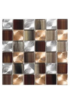 Pearl x Glass Mosaic Tile in Copper Mosaic Tiles Backsplash, Glass Mosaic Tiles, Wall Tiles, Backsplash Ideas, Kitchen Backsplash, Mosaics, Kitchen Island, Decorating Small Spaces, Interior Decorating