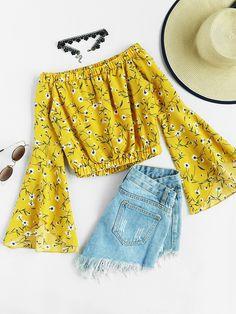 Shop Off Shoulder Fluted Sleeve Ditsy Print Blouse online. SheIn offers Off Shoulder Fluted Sleeve Ditsy Print Blouse & more to fit your fashionable needs.
