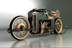 The ARX-4 Steampunk motorcycle created by Mikhail Smolyanov, who took inspiration from airplane engine equipped race cars of the 20s era for his ARX-4 concept. in this concept, a V8 engine powers the wheels that move via drive shaft instead of traditional chain link or belt drive. though, a concept but it is still quite a sight to behold.
