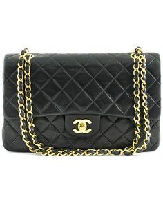 Vintage Chanel lammeskins læder taske