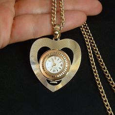 CARAVELLE Vintage Ladies WATCH Necklace Wind-up Heart Shape Swiss Mechanical Accurate Time BULOVA c.1960's #VintageWatch #LadiesWatch #WatchNecklace