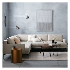 West Elm Andes Set 3, Right Arm 2.5 Seater Sofa + Left Arm 2.5 Seater... ($2,238) ❤ liked on Polyvore featuring home, furniture, sofas, dark gray sectional, west elm sectional, charcoal sectional, charcoal grey sofa and charcoal gray sofa