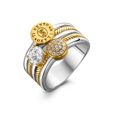 fff176a1a Sterling Silver/ Yellow Gold 3 Row Pave, Cubic Zirconia, and Ti Sento Logo